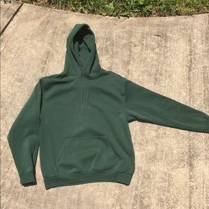 H&M men's dark green divided hoodie